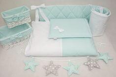 Pościel dziecięca pastelowa mięta z bielą - LoveWhite - Pościel do łóżeczka