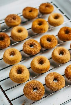 Pin for Later: 15+ Fall Doughnuts to Dive Into Baked Apple Cider Minidoughnuts Get the recipe: baked apple cider minidoughnuts