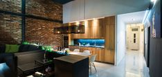 Contemporary apartment in Budapest, Hungary with LED lighting, colorful furniture and art pieces - GASPARBONTA