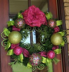 Lime Green and Hot Pink Christmas Wreath. $130.00, via Etsy. This is really cute and I bet I could recreate it in different colors for a lot less!