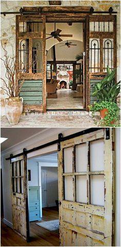 Distressed Wood Double Barn Door #interiorbarndoors