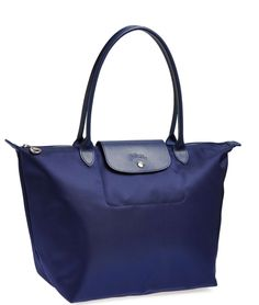 #Longhamp Large Le Pliage Neo' Nylon Tote in navy
