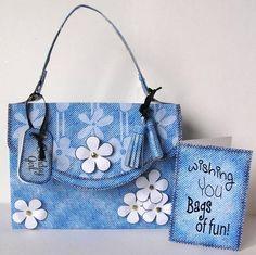 Card Gallery - 3D Denim & Daisies Handbag Treat or Favour Box Kit