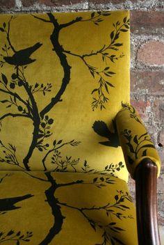 Timorous Beasties Fabric - Birdbranch Stripe Velvet