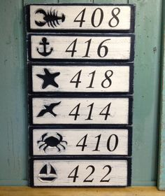 Address Sign Number Beach Lake House Nautical By Castawayshall 4 Numbers Digits An Original From