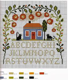 Punto croce - Schemi Gratis e Tutorial: Raccolta di schemi facili a punto croce - case e giardini