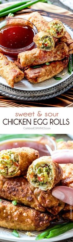 Sweet and Sour Chicken Egg are the best egg rolls I've ever had with the best sweet and sour sauce! And made extra fast with the food processor - no chopping! I am bringing these to all my holiday parties! #appetizer #NewYears #Christmas