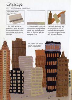 torn paper cityscape