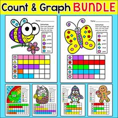 Spring Activities Color, Count and Graph Bundle - These fun Spring, Easter, St. Patrick's Day, Winter, Valentine's Day and Christmas theme graphing activities will get your students excited about learning how to count and graph. Students will count shapes and record the totals by coloring in the graph.