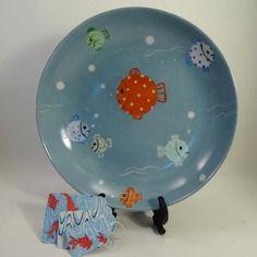 Assiette à soupe de naissance ronde,en porcelaine pour un petit marin!