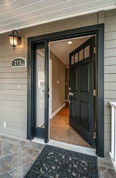 Traditional Front Door with Merola Tile Scabos Egeo 14-3/16 in. x 14-3/16 in. Porcelain Floor and Wall Tile, Glass panel door