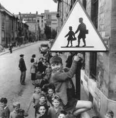 """© Robert Doisneau, """" Les écoliers de la rue Damesme """", Paris """"The marvels of daily life are so exciting; no movie director can arrange the unexpected that you find in the street."""" (Robert Doisneau) & find more of Magnum Photos here & Robert Doisneau Photos, Photography Portfolio, Street Photography, Portrait Photography, Willy Ronis, Charlie Watts, Andrew Wyeth, Diego Rivera, French Photographers"""