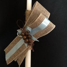 Very simple and elegant candle. It is a totally different one. One size. Burlap Ribbon, Easter Crafts, Christmas Trees, Diy And Crafts, Projects To Try, Candles, Elegant, Simple, Blue