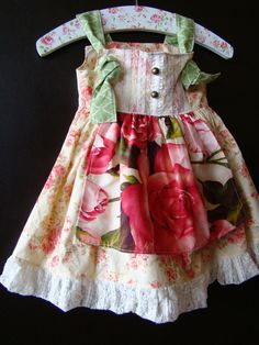 Ambrosia girl's lacey apron knot dress by 3littlebirdsboutique, $68.00