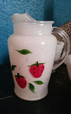 Vintage Bartlett Collins white glass Pitcher  Hand Painted Strawberries