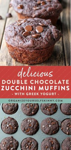 Delicious Double Chocolate Zucchini Muffins   Healthy Baking Recipes - Looking for a healthy muffin recipe that has bonus vegetables in it for the kids? These Double Chocolate Greek Yogurt Zucchini Muffins were a hit with my family and are full of goodness! Organize Yourself Skinny   Healthy Chocolate Desserts   Healthy Snack Recipes   Clean Eating #healthydesserts #muffinrecipes #chocolatedessert