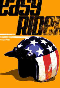 EASY RIDER red white blue american flag patriotic stars and stripes motorcycle Chopper helmet original Pop Art illustration 8x10.. $30.00, via Etsy.