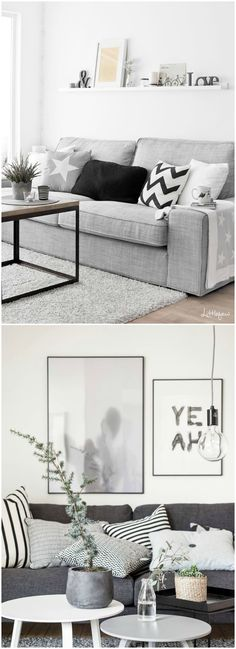 Sofá gris, el color perfecto. Visto en www.momocca.com Living Room 2017, Living Room Grey, Small Living Rooms, Living Room Modern, Home Living Room, Living Room Designs, Living Room Decor, Gray Couches, Flat Ideas