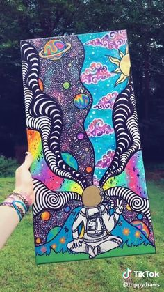 Psychedelic Rainbow Art Painting More from my site Crayons Painting Art_Great art by ©ambriahphillips (Tiktok Cute Canvas Paintings, Small Canvas Art, Mini Canvas Art, Art Paintings, Painting Art, Painting Flowers, Painting Tools, Body Painting, Painting Videos
