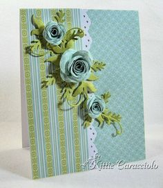 card in blue and green with rolled roses..gorgeous elegance!!!