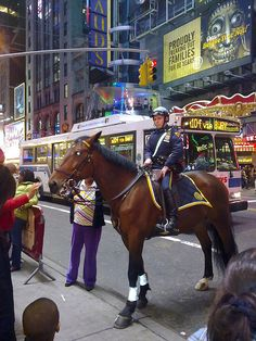 NYPD cop patrolling on horse @ Time Square. Its hard for him to keep straight face when he gets so much attention by people around and everyone is excited to take a picture with him. Police Patrol, Police Cars, A New York Minute, New York Police, Police Life, Ny Ny, I Love Ny, City That Never Sleeps, Blue Bloods