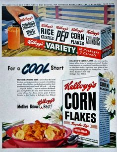 1948 Kellogg's Corn Flakes Cereal Vintage Advertisement Kitchen Wall Art Dining Room Decor Original Magazine Print Ad Breakfast Ephemera by RelicEclectic on Etsy