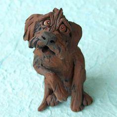 Chocolate Labradoodle or Goldendoodle Ceramic by RudkinStudio Chocolate Labradoodle, All About Puppies, Goldendoodle, Fur Babies, Lion Sculpture, Doodles, Statue, Ceramics, Handmade Gifts