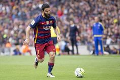 Barcelona's Arda Turan in action during the Spanish league football match between the FC Barcelona and the RCD Espanyol at Camp Nou stadium on May 8...