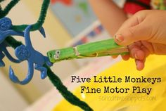 """Turn """"Five Little Monkeys"""" into a opportunity to practice Fine Motor skills! Love this song!"""