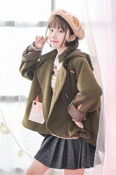 Original design autumn and winter Sen female tribal irregular cartoon hooded wool coat woolen coat female winter soft sister - Taobao