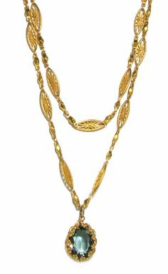 Catherine Popesco 14K Gold Plated Marquise Filigree Link Double Strand Necklace with Framed Oval Indian Sapphire Swarovski Crystal Pendant @Vicki Wall
