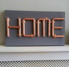 Restaurant ideas Kupferrohr HOME Schild, Wandkunst £ Know Your Air Conditioner Components Arti Copper Decor, Copper Art, Copper Pipes, Copper Crafts, Industrial Interior Design, Industrial Pipe, Copper Furniture, Lampe Tube, Home Design Diy