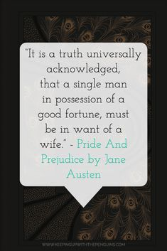 """""""It is a truth universally acknowledged, that a single man in possession of a good fortune, must be in want of a wife."""" - Pride And Prejudice by Jane Austen (book quote) #BookQuote #BestBooks #ClassicBooks #Austen Best Books List, Best Books To Read, Book Lists, Good Books, Best Book Reviews, Jane Austen Books, Book Challenge, English Literature, Single Men"""