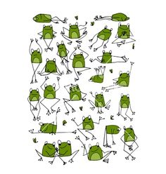 Funny frogs collection sketch for your design vector image on VectorStock Cartoon Drawings, Easy Drawings, Animal Drawings, Funny Frogs, Doodles, Frog Art, Sketch Notes, Happy Paintings, Drawing Lessons