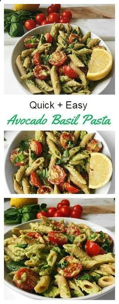 Quick and Easy Basil Avocado Pasta Recipe. Sounds super delicious and great for making in bulk.
