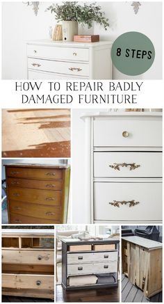 These 8 techniques will transform any piece of furniture to brand new. Even the most damaged piece of furniture can be fixed! Diy Furniture Repair, Diy Furniture Projects, Refurbished Furniture, Repurposed Furniture, Cheap Furniture, Furniture Making, Furniture Makeover, Wood Furniture, Bedroom Furniture