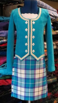Bonnie Aqua tartan...this time with a jacket! Made by @Karen Jacot Jacot Fyfe