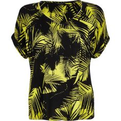 Lime palm leaf print V neck t-shirt - t-shirts - tops - women