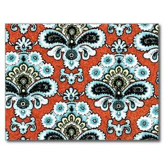elegant #floral #paisley design traditional style which captures the essence of the #exotic in vibrant #coral and #turquoise colors. #art #postcard #notecard #feminine