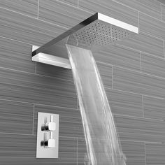 Waterfall & Rainfall Wall Mounted Shower Head, 4 Body Jets & Thermostatic Mixer Shower Kit - 3 Way - soak. Small Shower Remodel, Guest Bathroom Remodel, Waterfall Shower, Mixer Shower, Shower Panels, Shower Systems, Modern Bathroom, Simple Bathroom, Small Bathrooms
