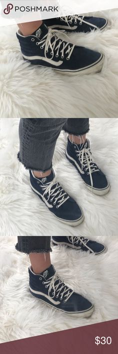 712769a42a Women s Navy Blue Suede Sk8 Hightop Vans Really good condition and only  worn once. Navy