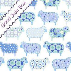 Tela animales - Ovejas azules 1,2,3 Play with me - hecho a mano por Good-Juju-Box en DaWanda