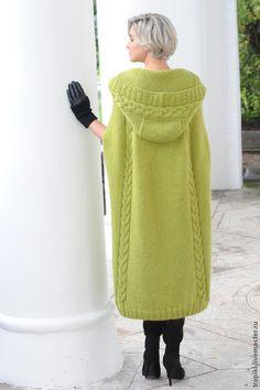 """Купить пальто-пончо """" Весна"""" - оливковый, пончо вязаное, пальто демисезонное…"""