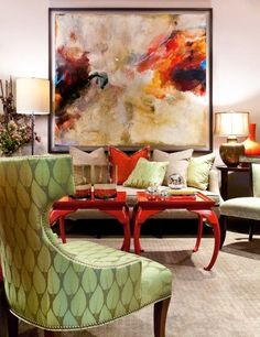 Get a high-end look with abstract art and lacquered tables. http://garyriggshome.com