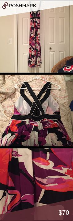 Banana Republic silk maxi dress Gorgeous silk, like new maxi dress. Worn twice. Criss cross back with a zipper and hook/eye closure. Banana Republic Dresses Maxi
