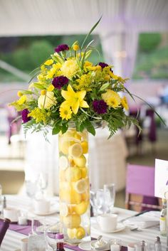 Purple and Yellow New York Wedding Wedding Real Weddings Photos on WeddingWire Flower Centerpieces, Wedding Centerpieces, Wedding Table, Centrepieces, Wedding Ideas, Yellow Wedding, Floral Wedding, Wedding Flowers, Summer Wedding