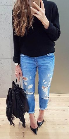 black and denim top + rips + bag + heels