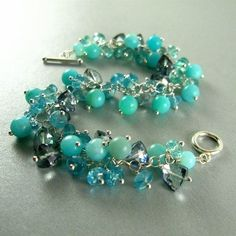 Blue Gemstone Sterling Silver Wire Wrapped Bracelet by SurfAndSand, $92.00 by Muriel Hopson