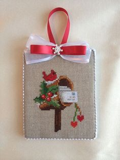 Finished Completed Cross Stitch Ornament Christmas Cardinal