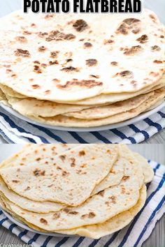 This Potato Flatbread recipe is definitely a great one to have on hand. Whether you need to use up some leftover mashed potatoes or are looking for a flatbread that's vegan and healthy, this recipe wi Shawarma, Potato Flatbread Recipe, Vegan Flatbread Recipes, Flatbread Sandwiches, Vegetarian Lunch, Vegetarian Recipes, Leftover Mashed Potatoes, Food Items, Potato Recipes